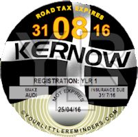 Cornish Kernow Car Vehicle Road Tax Disc Reminder PYLR016