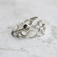 Rose cut Diamond Engagement Ring and Stepping Stone Wedding Band.  A unique wedding set for the natural, easy going woman. Available on etsy.
