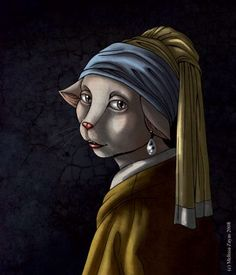 cat with pearl earring .. by way of vermeer