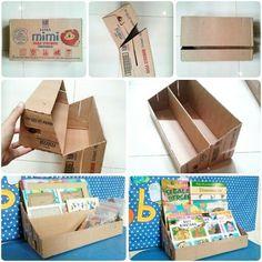 New DIY Bookshelf Ideas DIY Craft Ideas diy cardboard crafts ideas Cardboard Organizer, Cardboard Storage, Cardboard Display, Cardboard Crafts, Diy Storage, Diaper Box Storage, Cardboard Boxes, Storage Ideas, Karten Display