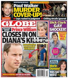GLOBE: Prince William Closes In On Princess Diana's Murderer - Mastermind Assassin Located! (PHOTO)