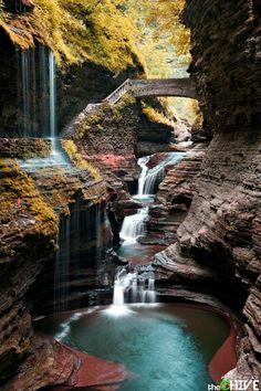 Watkins Glen State Park is the most famous of the Finger Lakes State Parks, with a reputation for leaving visitors spellbound. It is miles of natural beauty, waterfalls and gorges that words cannot do justice. You have to go and see this natural marvel. Places Around The World, The Places Youll Go, Places To See, Around The Worlds, Watkins Glen State Park, Les Cascades, Adventure Is Out There, Belle Photo, Wonders Of The World