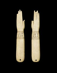 Two Egyptian bone clappers. Possibly Middle - New Kingdom.