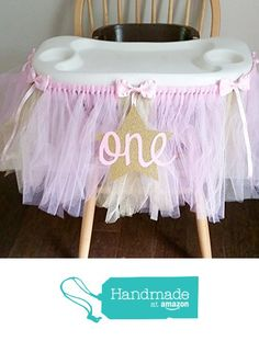 Pink and Gold Tulle High Chair Tutu with a Star from Two Pink Elphadees http://www.amazon.com/dp/B015UR4QUW/ref=hnd_sw_r_pi_dp_FI9Nwb1GZQSV1 #handmadeatamazon