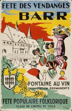 Fête des vendanges - Barr - Alsace - Fontaine au vin - 1959 - illustration de P. Kling - France -