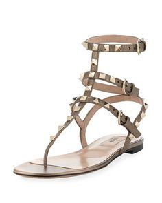 Rockstud Flat Leather Thong Sandal, Sasso by Valentino at Bergdorf Goodman.