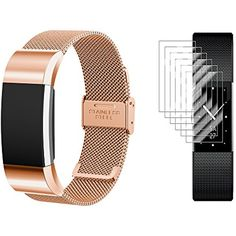 Fitbit Charge 2 Band with Screen Protectors, TUSITA Replacement Band Loop Metal Stainless Steel Bracelet Smart Watch Strap Fitness Tracker Heart Rate Monitor Wristband *** You can get additional details at the image link. (This is an affiliate link) #Accessories