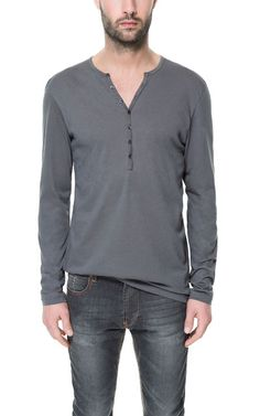 Image 1 of BUTTON-NECK T-SHIRT from Zara