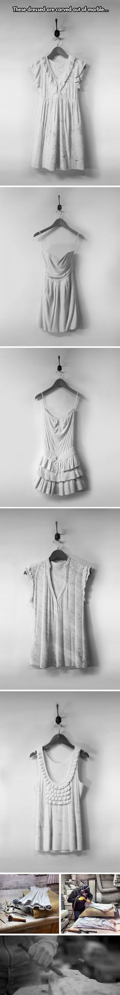 Airy Dresses Carved From Marble