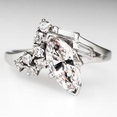 Retro-Vintage Marquise Diamond Engagement Ring 14K White Gold