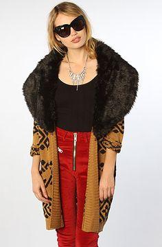 THIS.  MINKPINK The Intazia Fur Trim Cardigan in Camel Black : Karmaloop.com - Global Concrete Culture