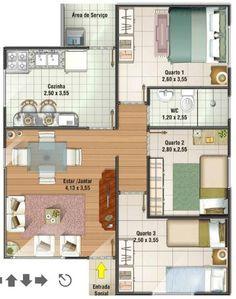 0014 Plano de casa de 67M2 y 3 Dormitorios. El plano de la casa lo pueden ver a continuación y así es como la vivienda cuenta con los siguientes ambientes: 3 Dormitorios, 1 cuarto de baño full para toda la vivienda, una amplia cocina que incluso tiene espacio para un comedor, ademas de un amplio living, el plano lo puede ver a continuación: