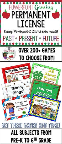 Here's a Permanent subscription to my games! By purchasing this permanent subscription, you gain access to every game I have created. You will also gain access to every powerpoint game I create in the future. Fill out your information, and you'll receive a folder containing every game I've made. This also includes holiday games including the Christmas Advent Games (guaranteed 25 games), back to school games, and end of the year test prep games.  All games are common core aligned.