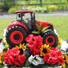 Funeral Flower Arrangements, Silk Arrangements, Funeral Flowers, Red Tractor, Tractors, Cemetary Decorations, Wedding Decorations, Funeral Tributes, White And Blue Flowers