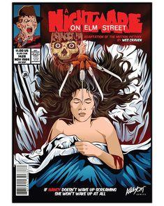 A Nightmare on Elm Street Comic Cover Horror Print Alternative Movie Poster Best Horror Movies, Classic Horror Movies, Horror Movie Posters, Movie Poster Art, Scary Movies, Horror Cartoon, Horror Comics, Culture Pop, Geek Culture