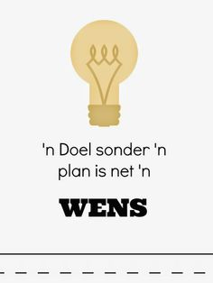 'n doel sonder 'n plan Wise Quotes, Great Quotes, Motivational Quotes, Funny Quotes, Inspirational Quotes, Afrikaanse Quotes, Lessons Learned In Life, Wedding Quotes, Printable Quotes