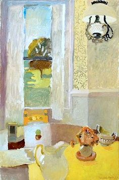 Fairfield Porter-Still Life with Yellow Tablecloth