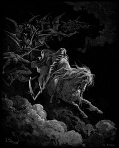GUSTAVE DORE ~  Doré * French * 1832-1883 * artist~printmaker~illustrator~sculptor ** Death on the Pale Horse ~ 1865