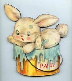 Easter bunny rabbit fell in paint pail wood wall Plaque Decor. Sign vtg.style