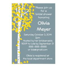 Blue Aspen Tree Invitations