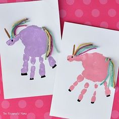 Does anyone else have a child obessed with unicorns I am making an effort to do more handprint arts and crafts with my youngest two before they are too old I have tons of stuff from my oldest but not as much from them Tell me Im not the only one I knew my unicorn obessed daughter would jump on board with my plan when I mentioned handprint unicorns Link in profile for details