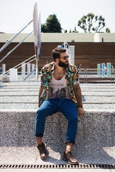 Hot Sandy.Similar pieces:Ralph Lauren Hawaiian Floral Shirt,...   No:50884   メンズファッションスナップ フリーク - 男の着こなし術は見て学べ。