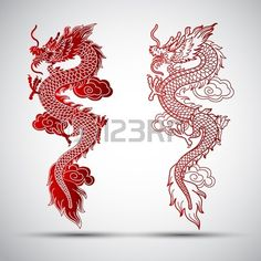 Illustration of traditional chinese dragon illustration # . - Illustration of traditional chinese dragon illustration # Dragon illustration - Red Dragon Tattoo, Small Dragon Tattoos, Dragon Tattoo For Women, Japanese Dragon Tattoos, Dragon Tattoo Designs, Chinese Dragon Drawing, Dragon Tattoo Outline, Red Chinese Dragon, Dragon Tattoo On Foot