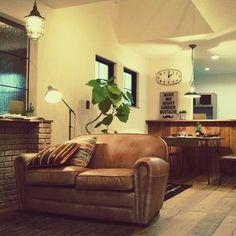 kotaさんの、部屋全体,観葉植物,照明,ソファ,レトロ,トラックファニチャー,ジャーナルスタンダードファニチャー,HALO…