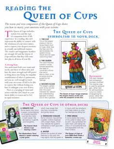 Tarot card meanings Reading the queen of cups :) x
