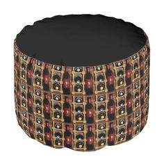 Wine Rack Abstract Pouf Round Pouf
