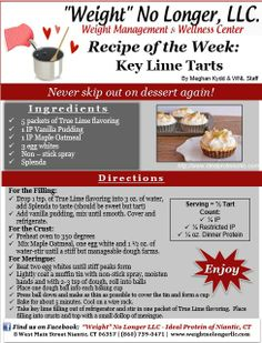 """Wednesday's Weekly Recipe: """"Key Lime Tarts"""" An Ideal Protein friendly snack…"""