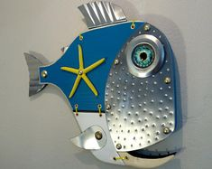 Handmade Fish ,Sea Turtle wall Art Sculptures and More by Unikos Fish Wall Art, Fish Art, Fish Sculpture, Wall Sculptures, Steampunk Theme, Seaside Art, Fisherman Gifts, Fun Diy Crafts, Fish Design