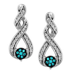 Wrap yourself in beauty wearing these vibrant 10kt white gold 0.15 ctw ctw blue and white diamond earrings. You're sure to get noticed wearing these white gold earrings with white diamond swirls and the central blue diamonds. EAR-DIA-1348