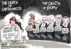 Charlie Hebdo and the death of irony. Pat Bagley - The Salt Lake Tribune. Political Comics, Charlie Hebdo, World Leaders, Egypt, Death, Politics, Paris, Humor, Funny