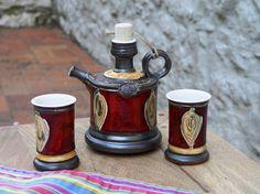 Ceramic set Brandy set Pitcher with Two Mugs by DankoHandmade