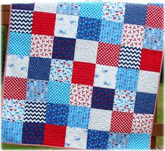 Baby Boy Quilt Nautical Patchwork Whales by CarleneWestberg, $139.00