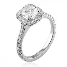 Optic Set Diamond Halo Cushion Cut Engagement Ring