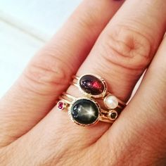 Stackable tiny gold rings with natural stones: tourmaline, freshwater pearl, black diamond, black star saphire & ruby
