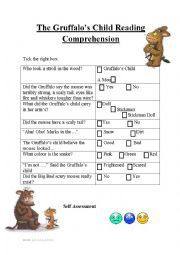 this is a multiple choice reading comprehension sheet for the book The Gruffalo´s child. Reading Worksheets, Vocabulary Worksheets, Grammar And Vocabulary, English Lessons For Kids, Esl Lessons, Descriptive Words, Rhyming Words, Gruffalo Activities, Gruffalo's Child
