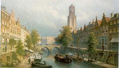 Eduard Alexander Hilverdink (Amsterdam 1846-1891) Gezicht op Oudegracht te Utrecht - Kunsthandel Simonis en Buunk, Ede (Nederland).