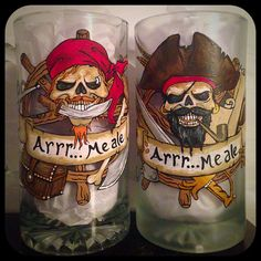 Hand Painted Pirate Beer Mugs by WattsGoodArtistry Follow my art today on Facebook and Etsy! https://www.facebook.com/wattsgoodartistrydesigns