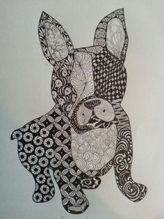 My first ZIA- Zentangle Inspired Art boston terrier dog