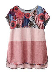 Cheap Tops, Buy Quality Blouses and Shirts directly from China Blouses and Shirts Suppliers: Chinese Style Embroidery Short Sleeve O Neck Shirts For Women Plus Size T Shirts, Plus Size Tops, Kurta Designs, Blouse Designs, Date Outfit Casual, Casual Outfits, Simple Indian Suits, Modern Kimono, Stylish Dresses For Girls