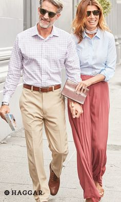 "Achieve the ""man about town"" look with a printed dress shirt from Haggar and flat-front khakis. It's the perfect casual menswear style for business travel or exploring a new city on vacation. Get new spring style for him at Kohl's."