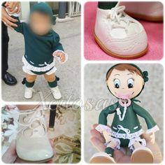 Fofucha bebé personalizada con estas fotos.  Todo hecho en goma eva, más un poco de puntilla y unos lacitos.  www.xeitosas.com