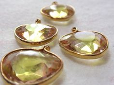 #Vintage Framed Glass Charms Faceted #Citrine and by TUTreasures, $5.50