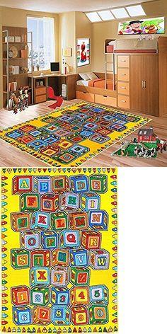 Kids Rugs Abc Blocks Area Rug 5 X 7 Children Crayons Carpet Non Skid