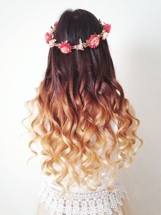 Ombre Hair Style Inspiration #floral #hairdo #curlyhair