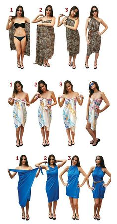 How To Wear Belts ways to tie a sarong - Discover how to make the belt the ideal complement to enhance your figure. How To Wear Belts, How To Make Shorts, Scarf Dress, Diy Dress, Sarong Dress, Wrap Dress, Diy Fashion, Ideias Fashion, 1950s Fashion