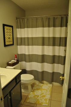 Love These Colors In The Bathroom Too Very Sherri Decorating - Yellow and grey bathroom rugs for bathroom decorating ideas